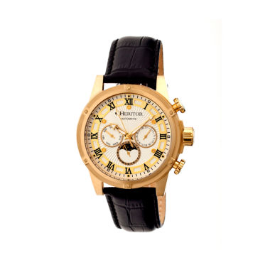 jcpenney.com | Heritor Automatic Kinser Mens Leather Day&Date-Gold Tone/Silver Tone Watch