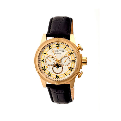 Heritor Automatic Kinser Mens Leather Day&Date-Gold Tone/Silver Tone Watch