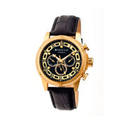 Heritor Automatic Kinser Mens Leather Day&Date-Gold Tone/Black Watch