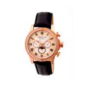 Heritor Automatic Kinser Mens Leather Day&Date-Rose Gold Tone/Silver Tone Watch
