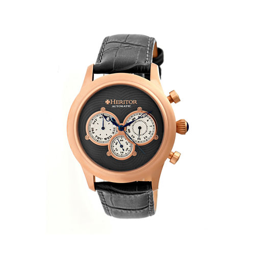 Heritor Automatic Earnhardt Mens Leather Day& Date-Rose Gold Tone/Charcoal Watch