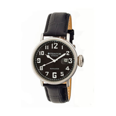 jcpenney.com | Heritor Automatic Olds Mens Black Leather Magnified Date Watch