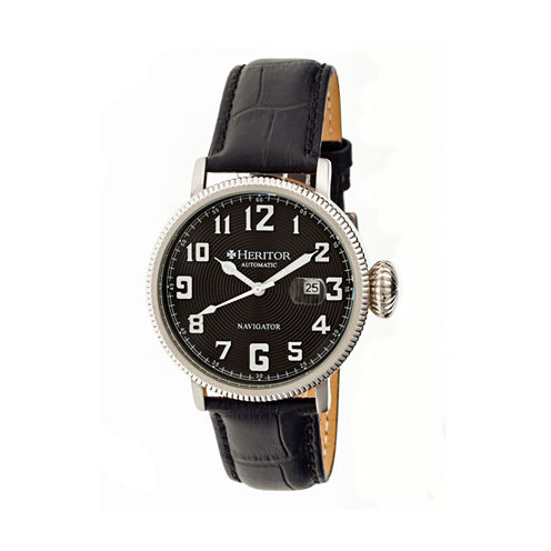 Heritor Automatic Olds Mens Black Leather Magnified Date Watch