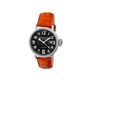jcpenney.com | Heritor Automatic Olds Mens Leather Magnified Date-Silver/Black/Camel Watches