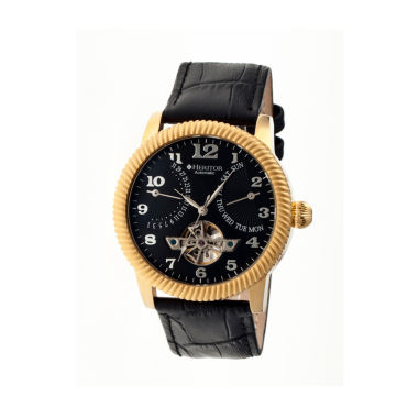 jcpenney.com | Heritor Automatic Piccard Mens Semi-Skeleton Leather Date-Gold/Black Watches