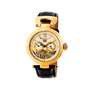 Heritor Automatic Ganzi Mens Leather Day&Date-Gold/Silver Watches