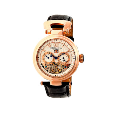 jcpenney.com | Heritor Automatic Ganzi Mens Leather Day & Date-Rose Gold/Silver Watches