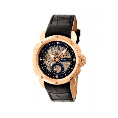 jcpenney.com | Heritor Automatic Carter Mens Skeleton Dial Leather-Rose G/Black Watches