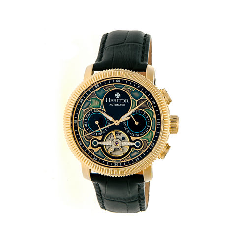 Heritor Automatic Aura Mens Vitreous Enamel Dial Leather-Gold Tone Watch