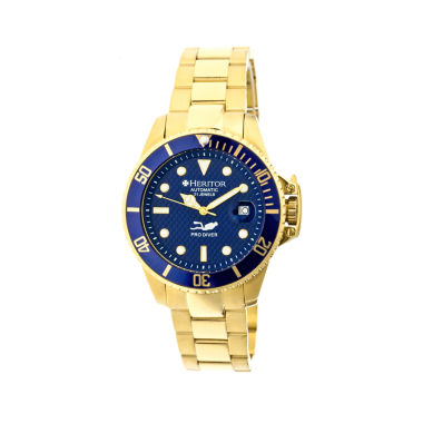 jcpenney.com | Heritor Automatic Pytheas Mens Pro-Diver Bracelet Watch With Magnified Date Display-Gold Tone/Navy Watch