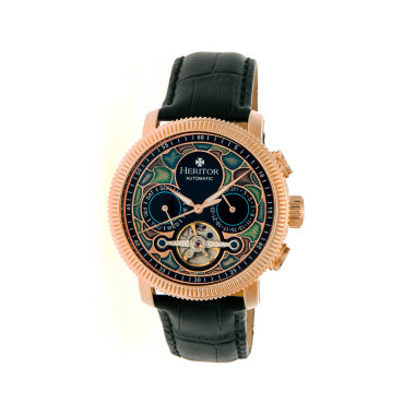 jcpenney.com | Heritor Automatic Aura Mens Vitreous Enamel Dial Leather-Rose Gold Tone Watch