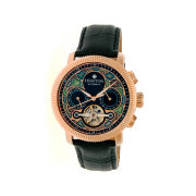 Heritor Automatic Aura Mens Vitreous Enamel Dial Leather-Rose Gold Tone Watch