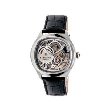 jcpenney.com | Heritor Automatic Odysseus Mens Skeleton-Dial Leather-Silver Tone Watch