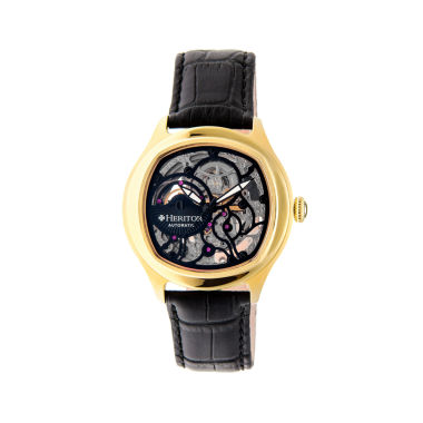 jcpenney.com | Heritor Automatic Odysseus Mens Skeleton-Dial Leather-Gold/Black Watches