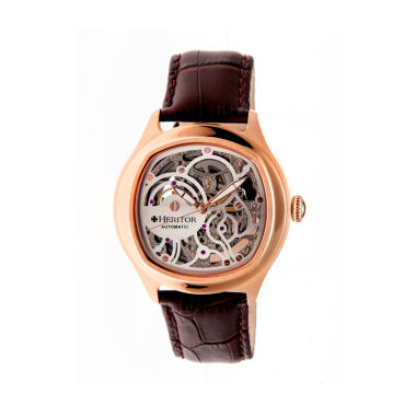 jcpenney.com | Heritor Automatic Odysseus Mens Skeleton-Dial Leather-Rose Gold/Silver Watches