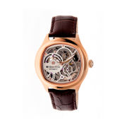 Heritor Automatic Odysseus Mens Skeleton-Dial Leather-Rose Gold/Silver Watches