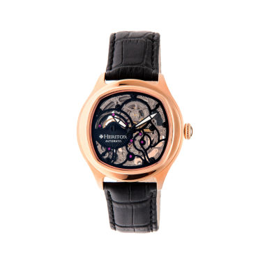 jcpenney.com | Heritor Automatic Odysseus Mens Skeleton-Dial Leather-Rose Gold/Black Watches