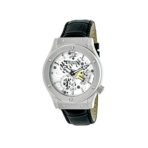 Heritor Automatic Gemini Mens Skeleton Dial Leather-Silver/Silver Watches
