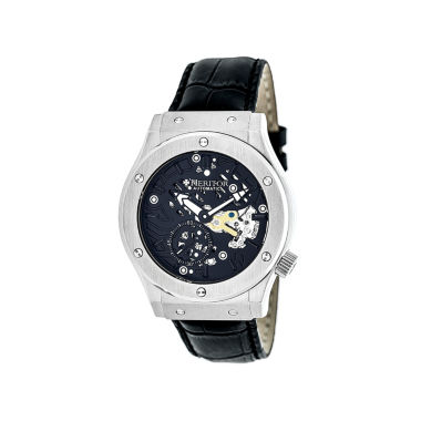 jcpenney.com | Heritor Automatic Gemini Mens Skeleton Dial Leather-Silver/Black Watches