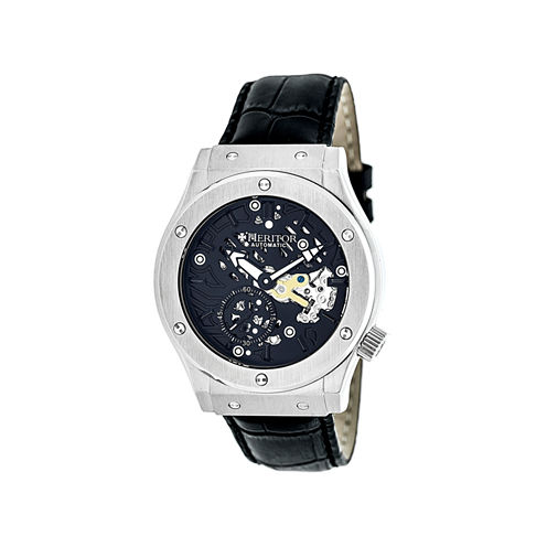 Heritor Automatic Gemini Mens Skeleton Dial Leather-Silver/Black Watches