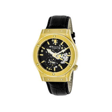 jcpenney.com | Heritor Automatic Gemini Mens Skeleton Dial Leather-Gold/Black Watches