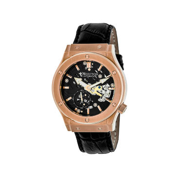 jcpenney.com | Heritor Automatic Gemini Mens Skeleton Dial Leather-Rose Gold Tone/Black Watch