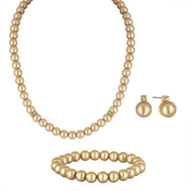 jcpenney.com | Vieste Rosa 3-pc. Mocha Simulated Pearl Silver-Tone Necklace Set