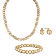 Vieste Rosa 3-pc. Mocha Simulated Pearl Silver-Tone Necklace Set