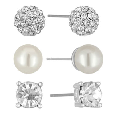 jcpenney.com | Vieste Rosa 3-pc. Simulated Pearl Silver-Tone Stud Earrings