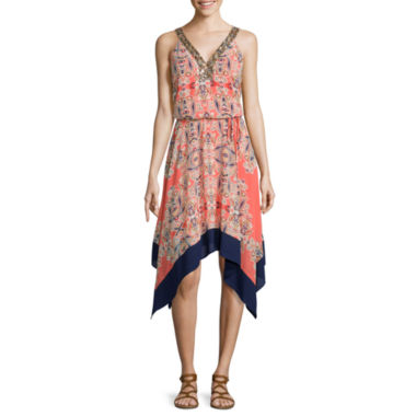 jcpenney.com | a.n.a® Sleeveless Print Asymmetric-Hem Dress with Beaded Neck