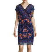 Sangria Split-Sleeve Floral Blouson Dress