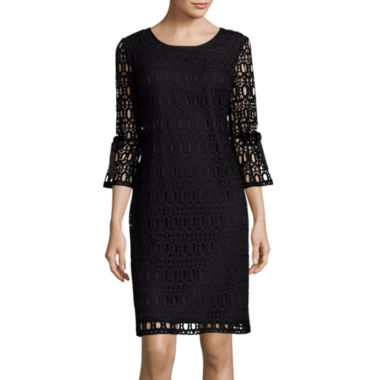 jcpenney.com | R&K Originals® Drawstring 3/4-Sleeve Crochet Lace Shift Dress