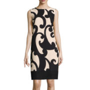 Alyx® Sleeveless Zipper-Shoulder Scroll Print Shift Dress