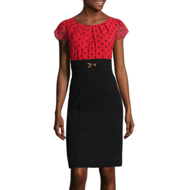 jcpenney.com | Alyx® Flutter-Sleeve Dot-Print Sheath Dress