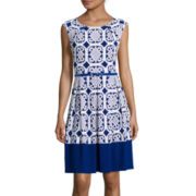 Tiana B. Cap-Sleeve Geo-Puff-Print Belted Fit-and-Flare Dress