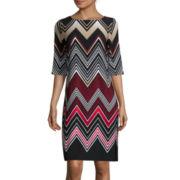 Studio 1® Elbow-Sleeve Printed Shift Dress