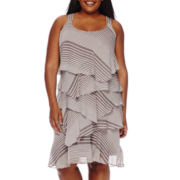 Robbie Bee® Sleeveless Stripe Tiered Sheath Dress - Plus