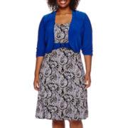 Perceptions 3/4-Sleeve Paisley Jacket Dress - Plus