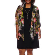 Tiana B 3/4-Sleeve Floral Duster and Necklace Jacket Dress - Plus