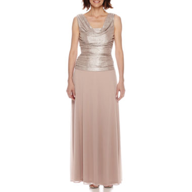 jcpenney.com | R&M Richards Sleeveless Crushed Satin Chiffon Gown