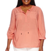 Stylus™ 3/4-Sleeve Popover Blouse - Plus