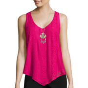 Heart & Soul® Sleeveless Lace Front Necklace Top