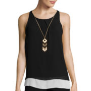 by&by Sleeveless Colorblock Necklace Camisole Shirt