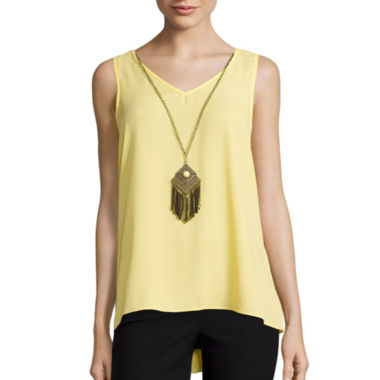 jcpenney.com | by&by Sleeveless Ruffle-Back Necklace Top