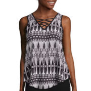 by&by Sleeveless Printed Lace-Up Top