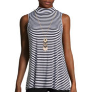 by&by Sleeveless Mock Neck Stripe Necklace Top