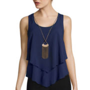 by&by Sleeveless Double Layer Necklace Cami