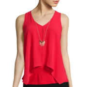 by&by Split-Front Knit-to-Woven Necklace Tank Top