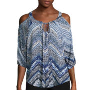 by&by Cold-Shoulder Crochet-Back Peasant Top