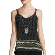 by&by Sleeveless Border Print Necklace Cami